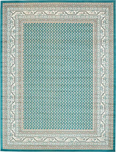 Unique Loom Williamsburg Collection Traditional Border Teal Area Rug (9' 0 x 12' 0) (Area Rug 9x12 Teal)