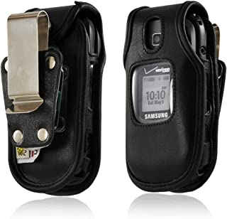 product image for Turtleback Heavy Duty Black Leather Case for Samsung U365 Gusto 2 Flip Phone with Rotating Belt Clip - Made in USA