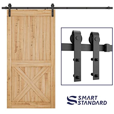 SMARTSTANDARD 8 FT Heavy Duty Sturdy Sliding Barn Door Hardware Kit, Single Rail, Super Smoothly and Quietly, Simple and Easy to Install, Fit 42-48  Wide DoorPanel (J Shape Hangers)