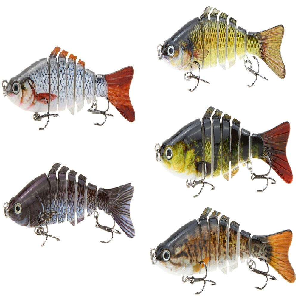 Lixada 10cm/4'' 15.5g Bionic Multi Jointed Fishing Lure SUN-FISH Lifelike Hard Bait Bass Yellow Perch Walleye Pike Muskie Roach Trout Swimbait (Style 1-2-3-4-5)