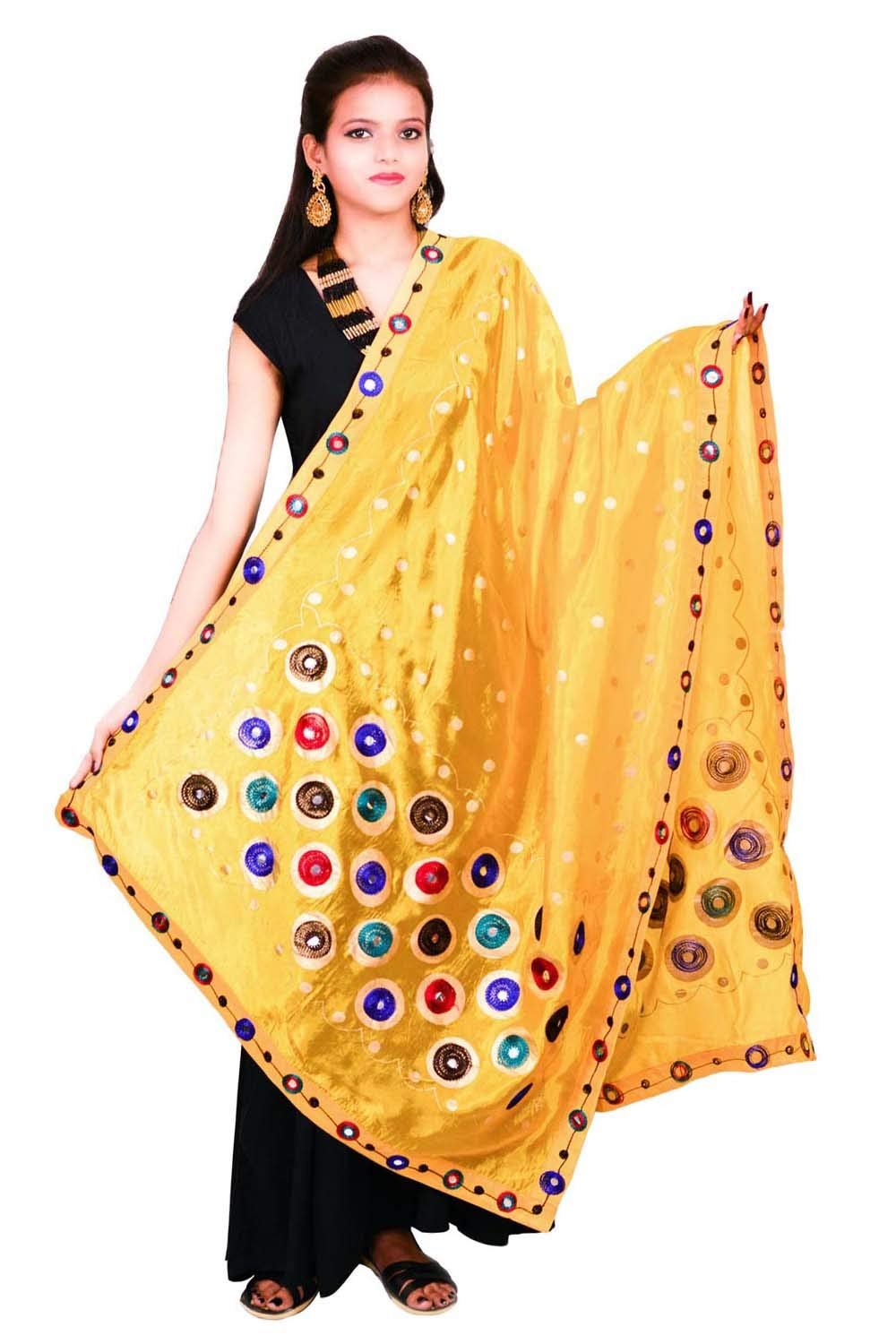 Thread Work Silk Dupatta Traditional Yellow Stole Chunni Scarf Hijab Neck Wrap For Women's