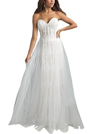Zhongde Women Strapless Boho Vintage 1950s Wedding Dress Bridal ...