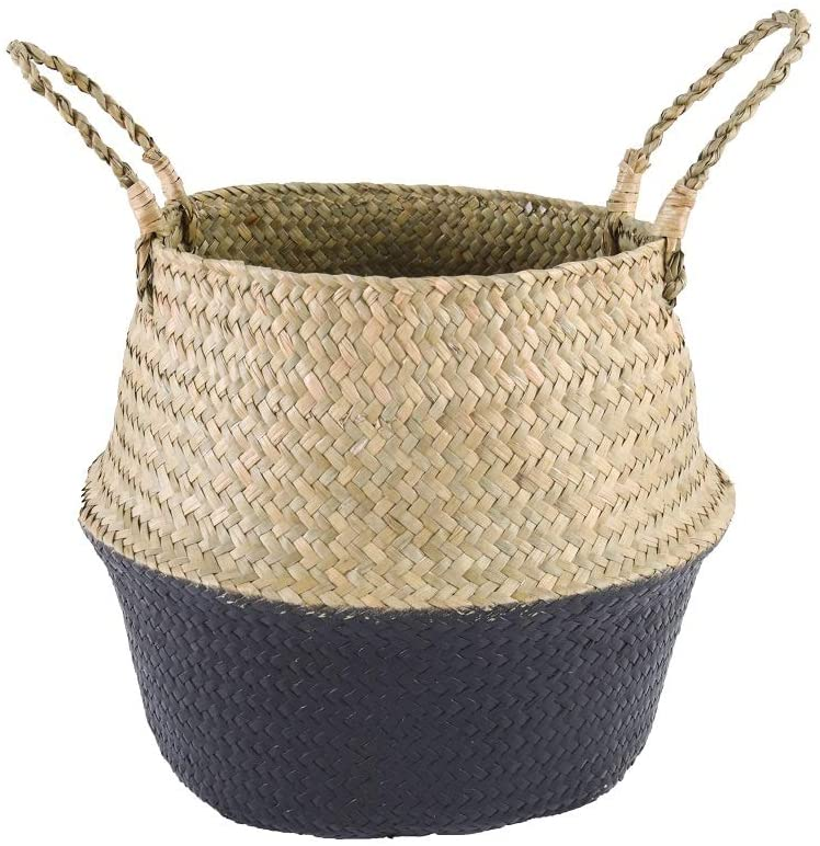 NEATNESSOME Woven Seagrass Basket for Storage, Boho Belly Plant Pot with Handles for Laundry, Picnic and Home Decor (Natural&Black, Large)