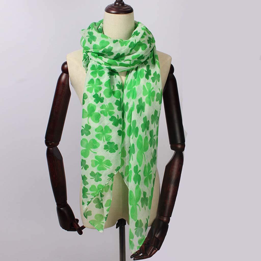 Sikye Chiffon Sheer Scarf,Fashion Soft Green Irish Four-Leaf Shamrock Shawl Wrap Scarves for Women Female (Mint Green) by Sikye _Scarf (Image #2)