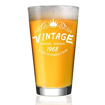 1968 51th Birthday Gifts For Men And Women 16 Oz Beer Glass