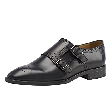 00b1db38 Brent Shoes Men's Black Double Monk Leather Formals UK 40 / IND 06 (Wide Fit
