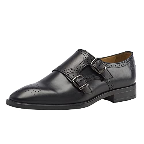 a51acf81daa3 Brent Shoes Men s Black Double Monk Leather Formals UK 40   IND 06 (Wide Fit