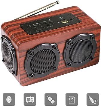 Altavoz Bluetooth Portatiles,Subwoofer portátil con bocinas de madera y regalos con radio FM, compatible con la tarjeta TF del disco U y el televisor con computadora móvil/speaker bluetooth/Altavoz/: Amazon.es: Electrónica
