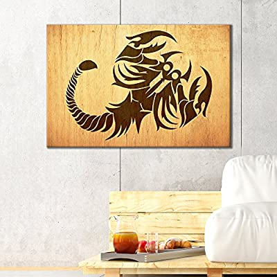 Canvas Wall Art - Scorpion Pattern on Vintage Wood Background - Giclee Print Gallery Wrap Modern Home Art Ready to Hang - 12x18 inches
