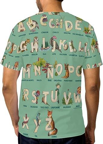 DEZIRO 26 - Camiseta de Manga Corta para Hombre, diseño de alfabetos, diseño de Animales: Amazon.es: Ropa y accesorios
