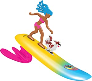 Surfer Dudes Legends & Surfer Pets Wave Powered Mini-Surfer, Pet and Surfboard Beach Toy - Surf City Sally and Malibu