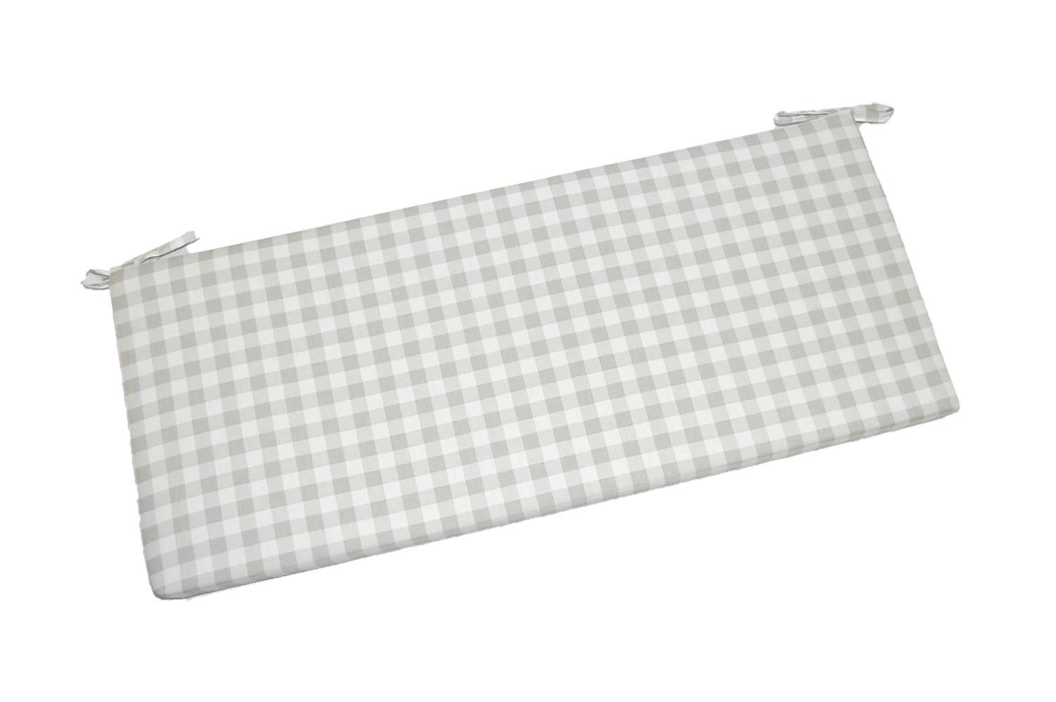 Gray / Grey Plaid / Country Checkered / Checkerboard 2'' Thick Foam Swing / Bench / Glider Cushion with Ties and Zipper - Choose Size (36'' x 14'')