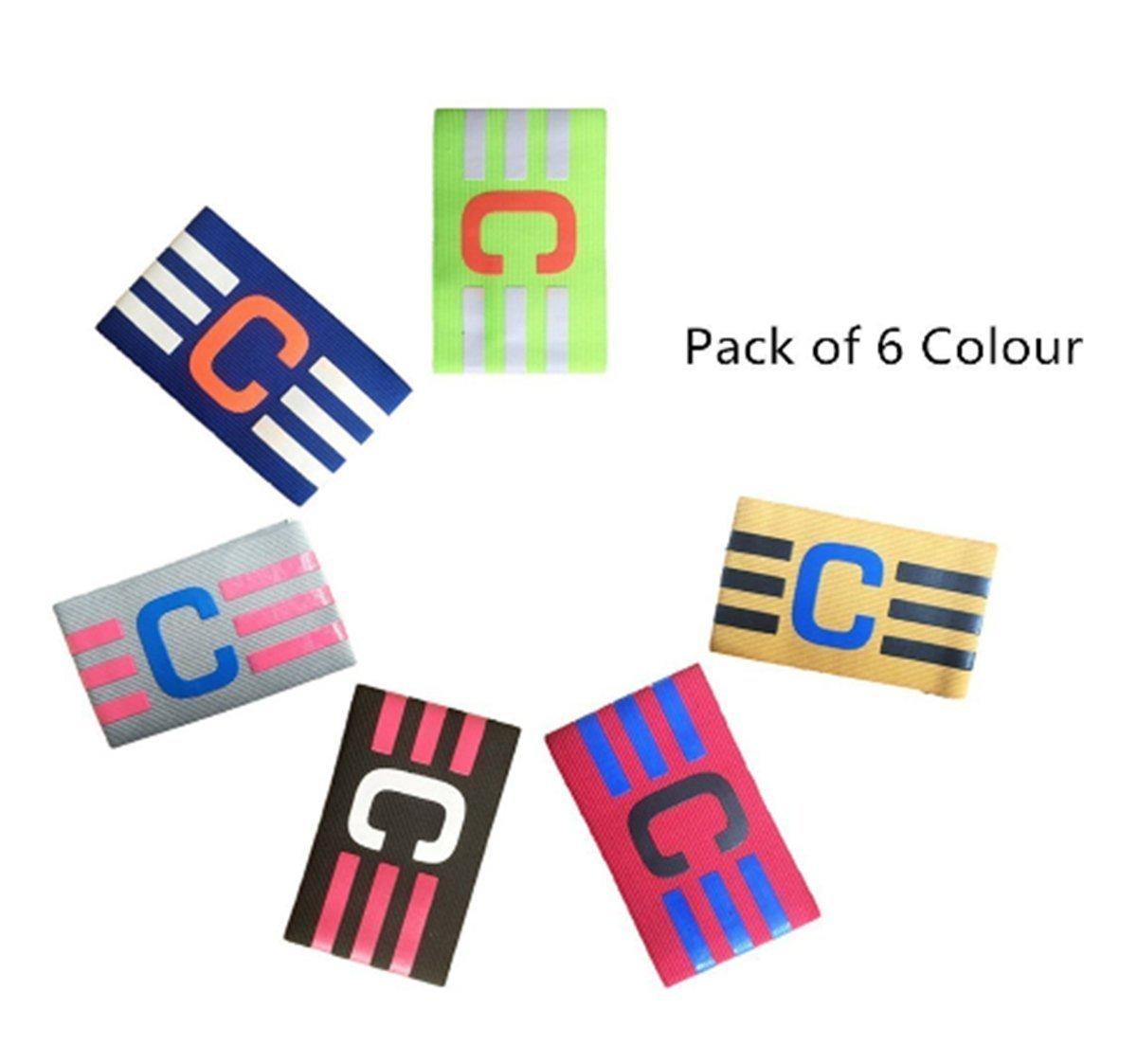 Apto para m/últiples Deportes f/útbol HUYUHAN Brazalete de capit/án Juvenil para Adultos f/útbol Incluyendo Rugby Pack de 6 Colores