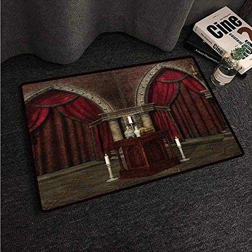 HCCJLCKS Welcome Door mat Gothic Mysterious Dark Room in Castle Ancient Pillars Candles Spiritual Atmosphere Pattern Country Home Decor W24 xL35 Red Black