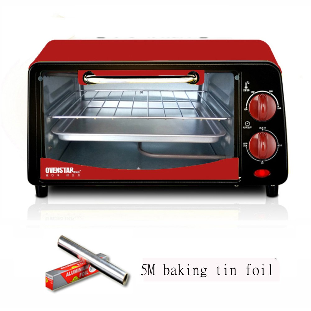 Fully automatic, Toaster oven, Mini, 12l large capacity, Digital dining, Countertop oven Digital Convection Polished stainless Toast Home Kitchen-red 36.2x27.2x19.2cm(14x11x8inch) JiaQi