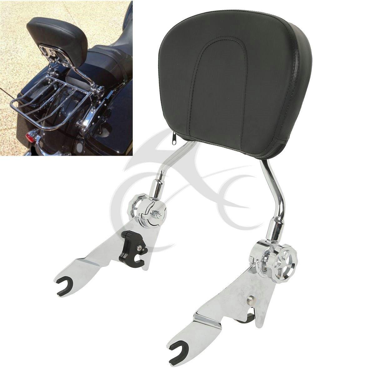 TCMT Detachable Backrest Sissy Bar For Harley Touring FLHR FLHX FLHT FLTR 2009-2018 (Chrome)