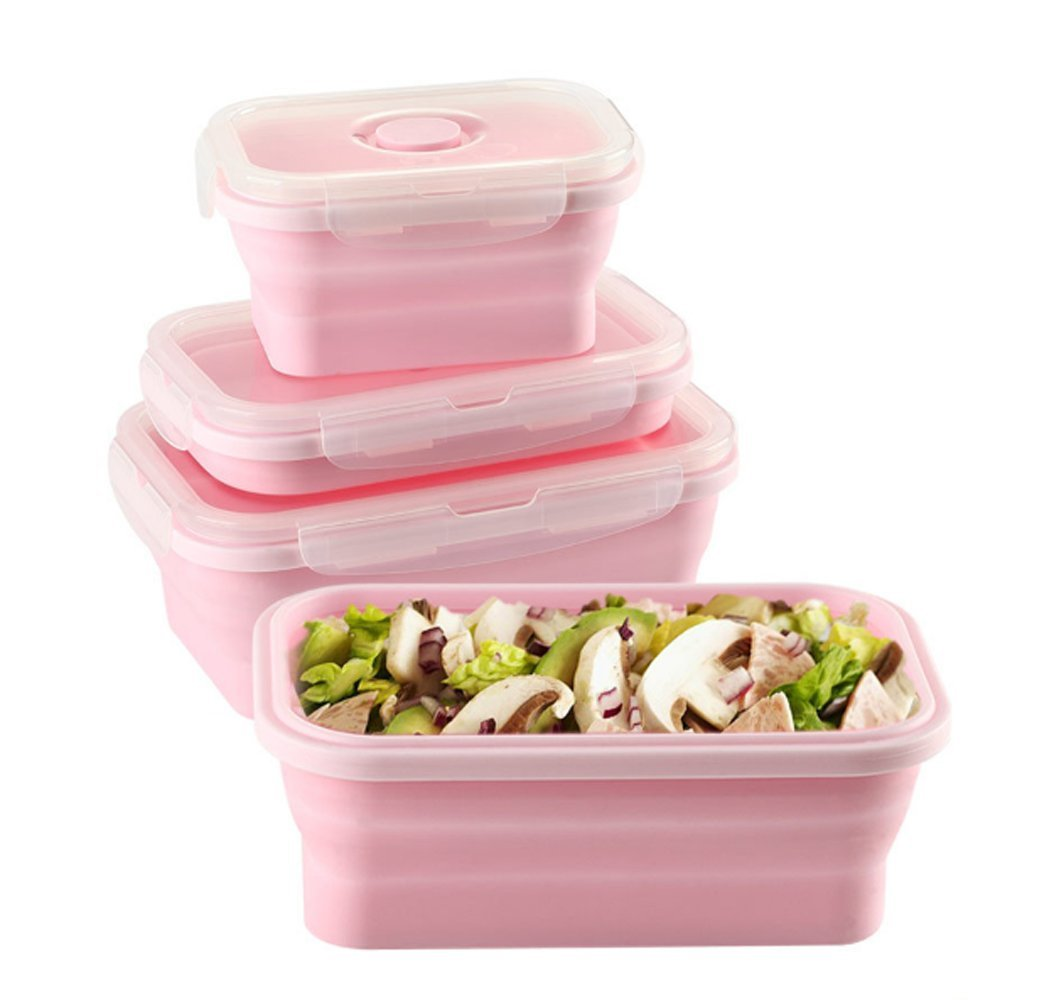 Silicone Lunch Box Portable Collapsible Folding Food Storage Container Kitchen Microwave, Dishwasher and Freezer Safe Household Picnic bento box for teens Pink(3pcs)