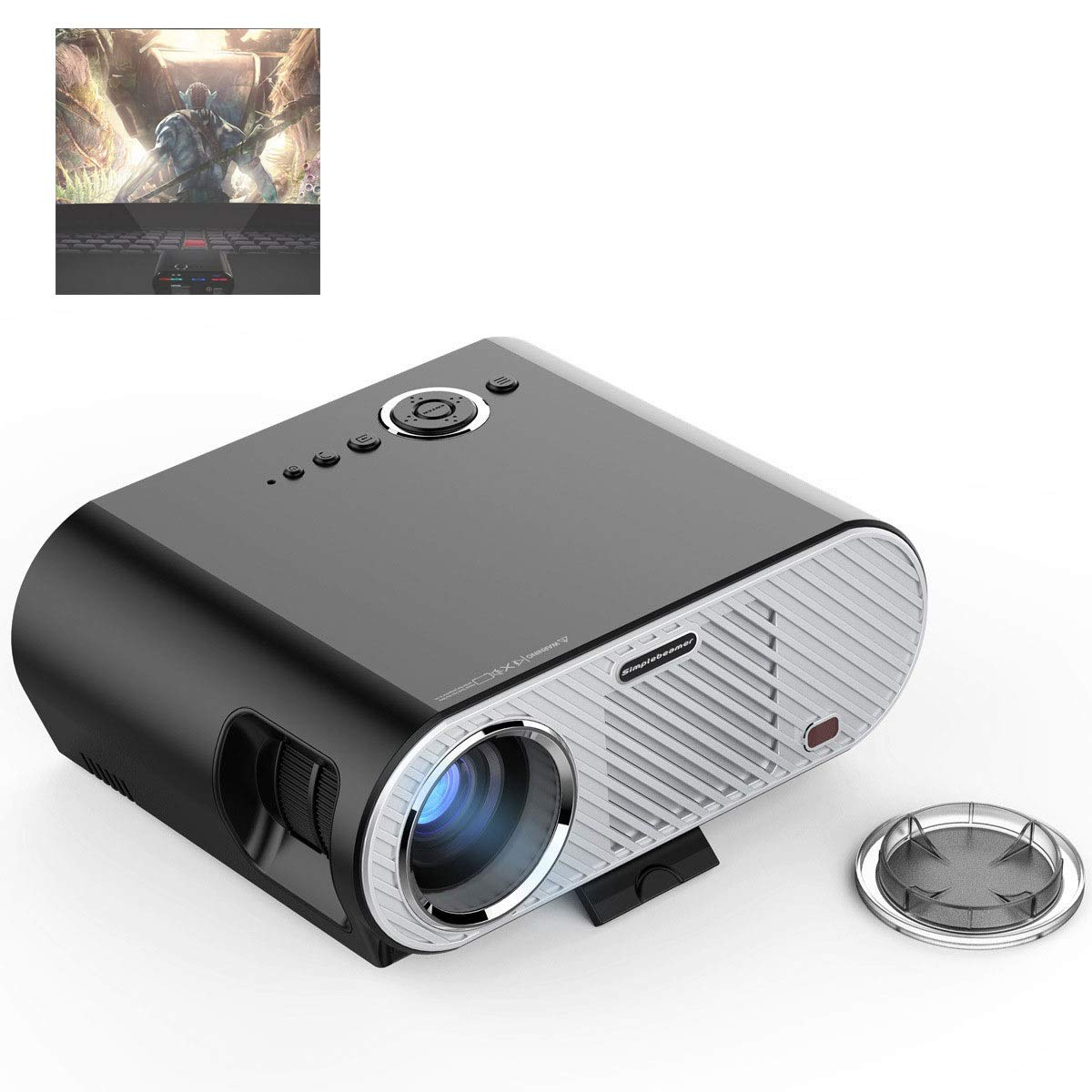 LiChenYao LED Projector 1080P Intelligent Android Projector WiFi Home Entertainment Projector