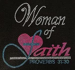 Women of Faith Proverbs 31:30 Fuchsia Pink Rhinestone Transfer