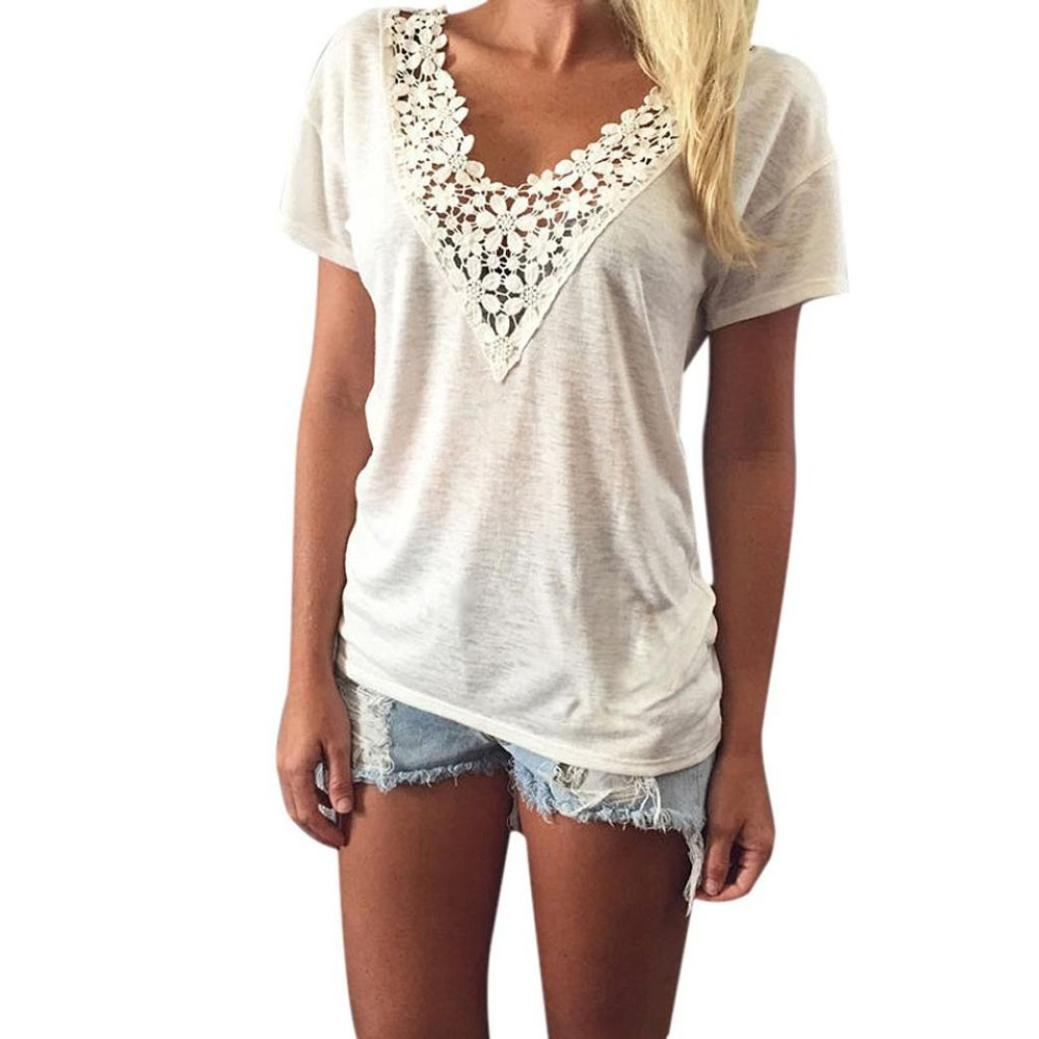 a9b5658a90f6fb Quartly Women Short Sleeve Casual Lace Neck Tops Tee Shirts Summer T-Shirt  Pullover Blouse at Amazon Women's Clothing store: