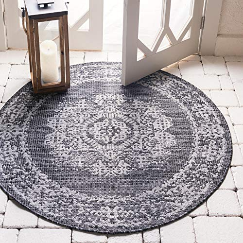Unique Loom Outdoor Traditional Collection Distressed Vintage Medallion Transitional Indoor and Outdoor Flatweave Charcoal Gray  Round Rug (4' 0 x 4' 0) (Rugs Indoor Polypropylene Outdoor)