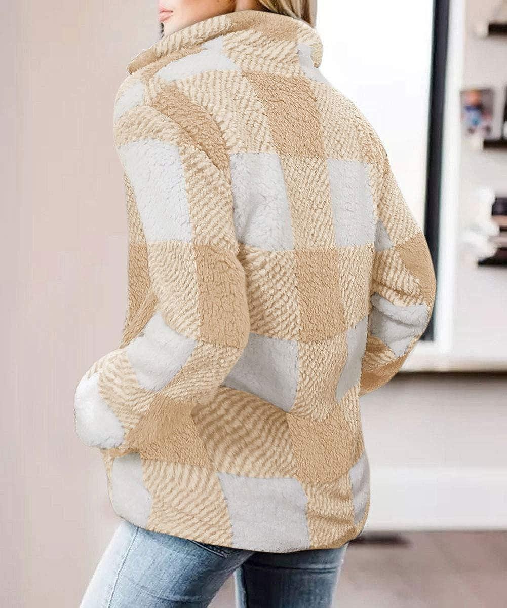 ZESICA Womens Plaid Long Sleeve Zipper Sherpa Fleece Sweatshirt Pullover Jacket Coat with Pockets