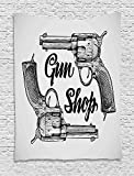 asddcdfdd Western Tapestry, Modern Western Movies Cowboy Texas Times Sketchy Style Two Guns Pistols, Wall Hanging for Bedroom Living Room Dorm, 60 W X 80 L Inches, Black Pale Grey