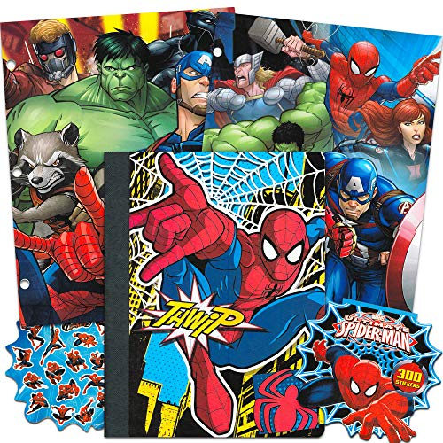 Marvel School Supplies Value Pack ~ 4 Pcs (Marvel Folders, Spiderman Notebook, and Over 300 Spiderman Stickers)