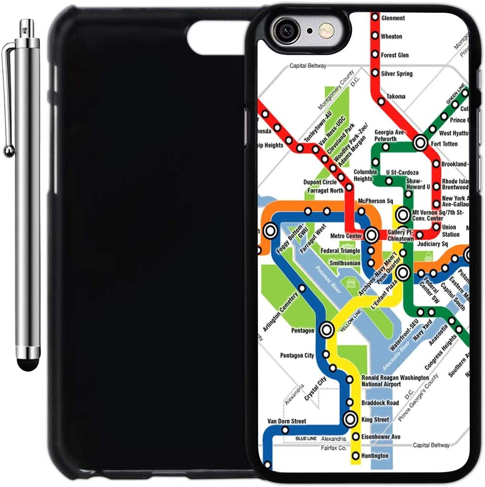 Amazon Com Custom Case Compatible With Iphone 6 6s 4 7 Inch Washington Dc Metro Map Plastic Black Cover Ultra Slim Lightweight Includes Stylus Pen By Innosub