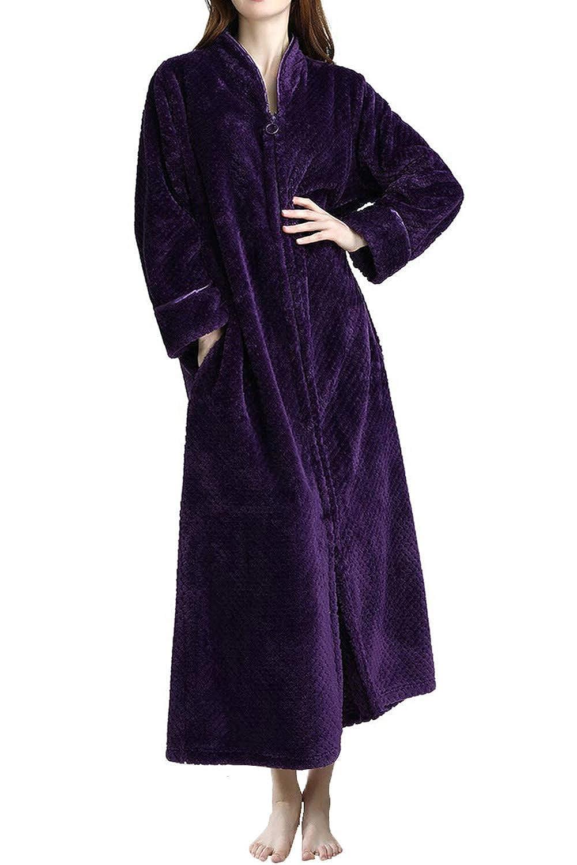 Purple DGGLIFE Women's Fleece Robe Bathrobe Flannel Texture Warm Long Sleepwear