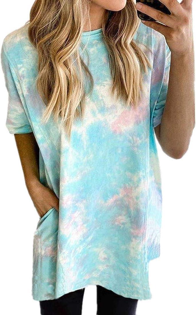 EISHOW Womens Summer Tie Dye Oversized Short Sleeve Sweatshirts Casual T-Shirt Crewneck Loose Fit Pullover Sweatshirt