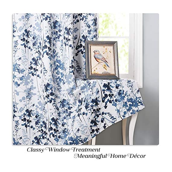 "KGORGE Printed Blackout Curtains with Pattern - Sunlight/UV Ray Reducing Grommet Top Window Draperies, Elegant Watercolor Foliage Patterned Art Gallery/Salon Decoration (Blue, W52 x L63, 2 Pcs) - READY MADE: Sold in pair, KGORGE Printed Blackout Curtains measure 52"" wide by 63"" long per panel. 8 silver grommet top fit any standard or decorative curtain rods up to 1.5"". Easy and convenient to hang as soon as you receive it. WATERCOLOR PAINTING: The vivid foliage pattern on white background gives the curtain an exclusive look with natural and exuberant sense. The watercolor gradient-blue is just perfect, lending artistic sophisticated feeling to your rooms. ROOM DARKENING: Providing 80%-95% sunlight/UV ray blocking, the curtains serve well for night shift workers and late sleepers. It also can fulfill your different needs like temperature balance, noise reduction and privacy protection... - living-room-soft-furnishings, living-room, draperies-curtains-shades - 61vCYS6ZGCL. SS570  -"