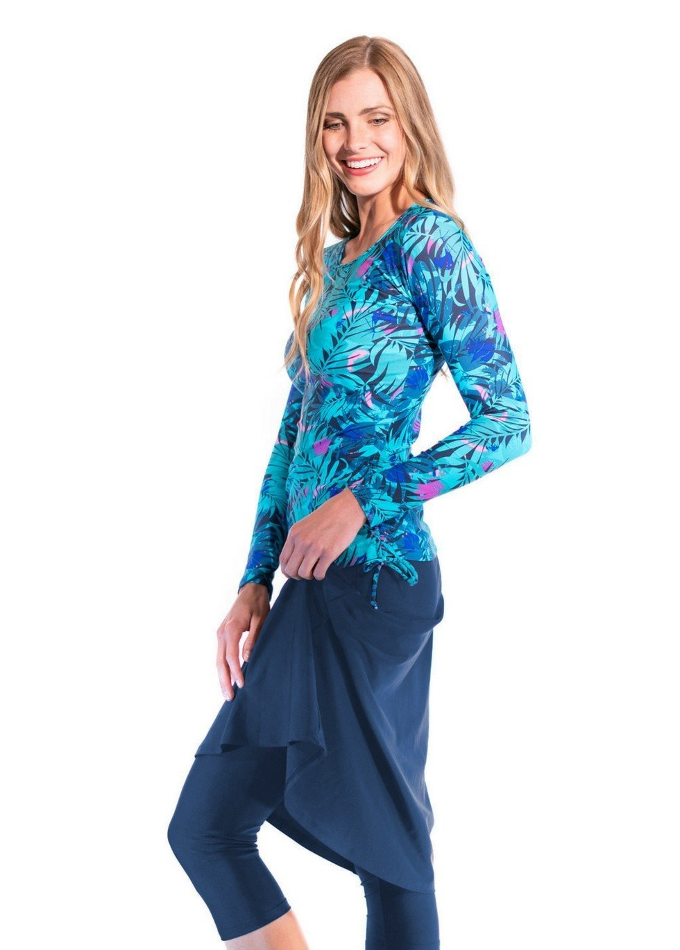 Ella Mae Modest Swimsuit for Women with Long Sleeve Swim Shirt and Skirt with Knee Length Swim Capri Leggings (S-XXXL)
