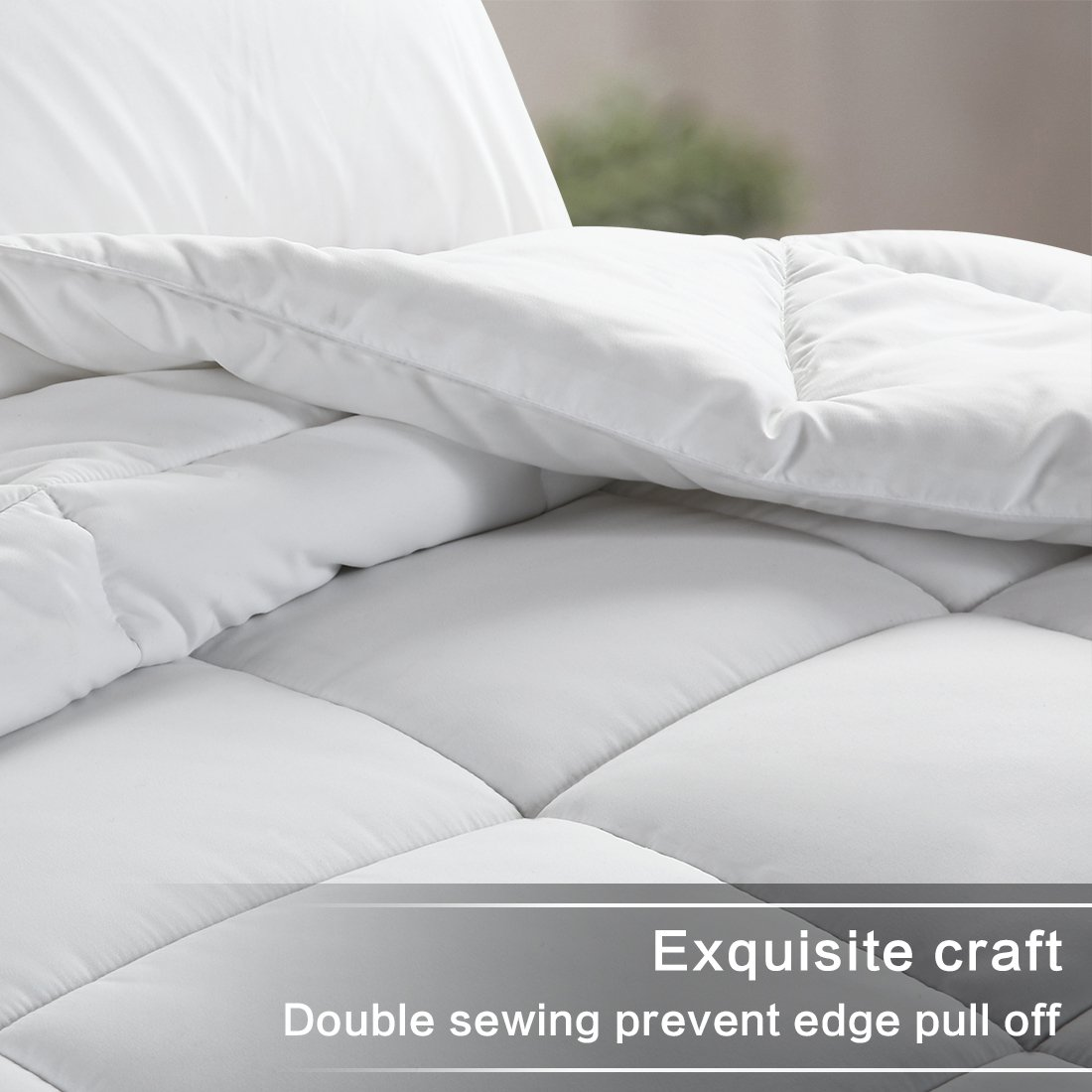 WARM HARBOR Queen All Season White Down Alternative Quilted Comforter and Duvet Insert - Luxury Hotel Collection Premium Lightweight(Queen,White) by WARM HARBOR (Image #3)