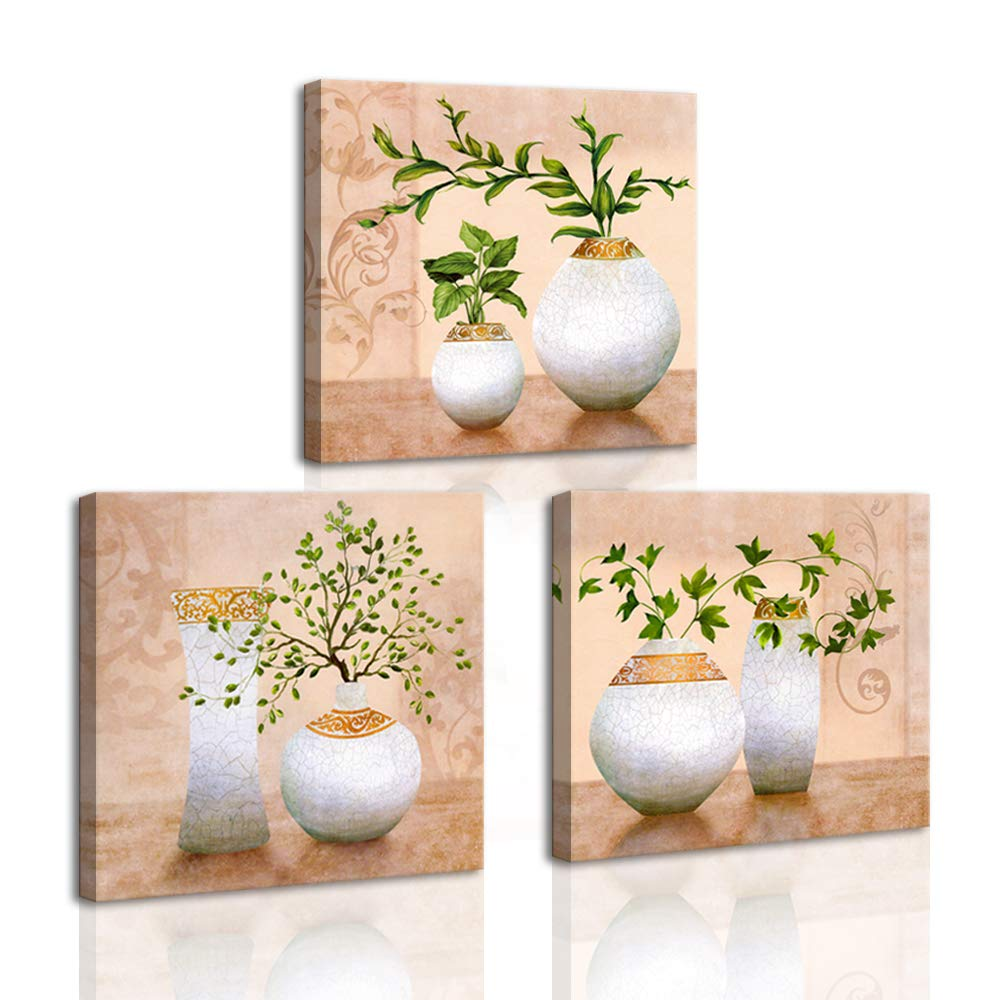 DekHome 3 Piece Beige Wall Art for Bathroom Green Spring Plants in Vases Picture Print on Canvas Still Life Artwork Ready to Hang for Wall Decor 12''x12''x3 Panels by DekHome