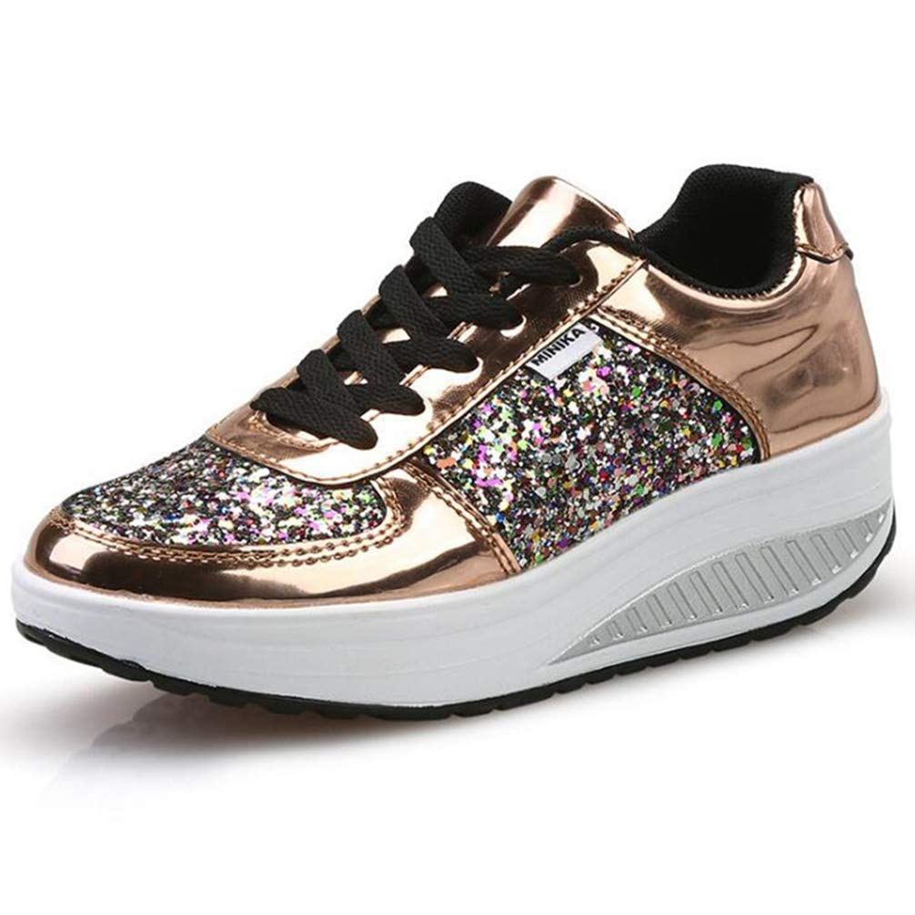 gold Wallhewb Women Cool Glitter Sneakers Spring Autumn Sequin Lace Up Wedges Casual shoes Patent Leather Walking shoes Leg Length Elegant Leg Length Bling Fashion Reasing White 6.5 M US shoes