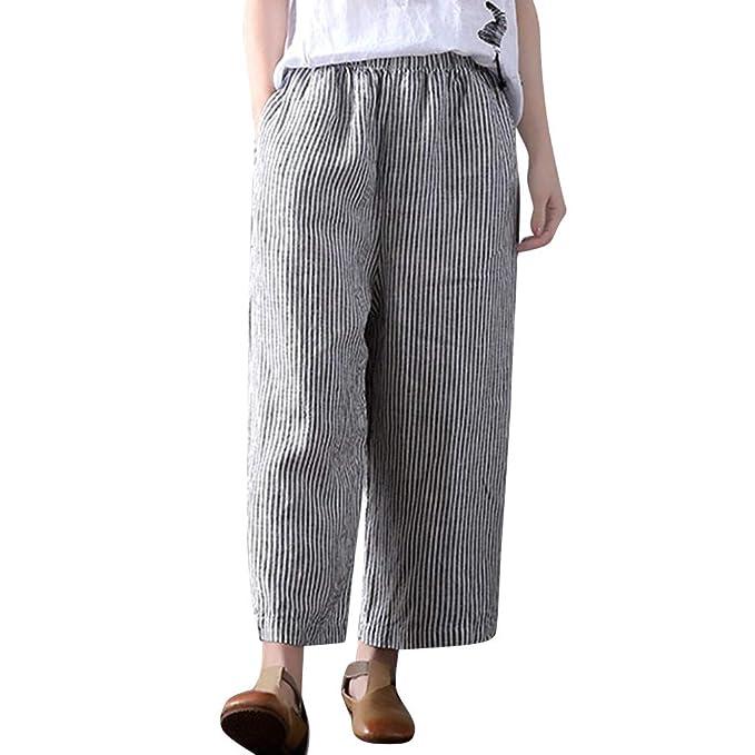 cb23548dc4 ABsolute Pantalones largos Pantalones Anchos Mujer Tallas Grandes Lino de Mujer  Pantalones Largos de Rayas de