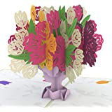 Lovepop Tulip Bouquet Pop Up Card - Greeting Card, 3D Card, Pop Up Flower Card, Anniversary Card, Card for Wife, Card for Mom