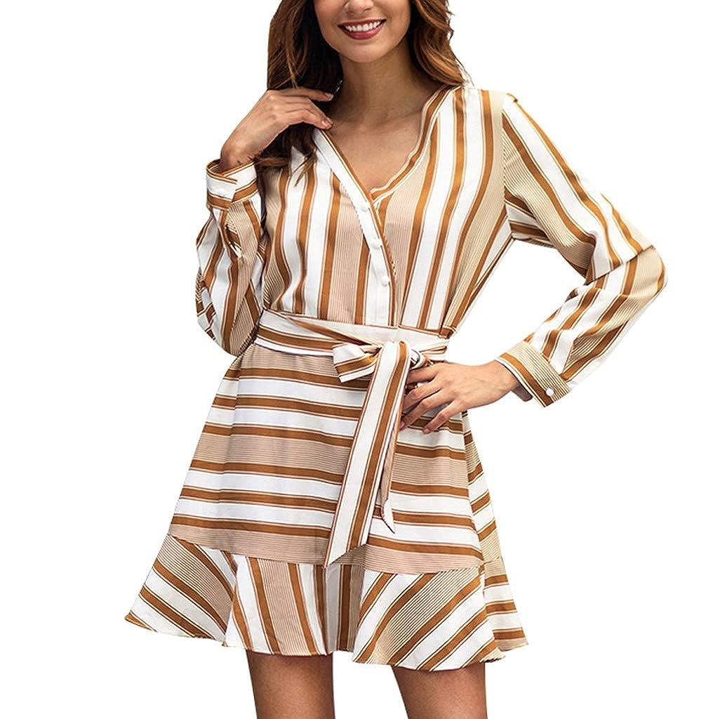 Damen Leopard Druckkleid,Pottoa Frauen Mode Kleid mit V-Ausschnitt - Langarm Flare Sexy Miniröcke - Daily Party Work Abendkleid