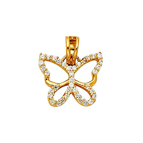 with 18 Rolo Chain Million Charms 14k Yellow Gold with White CZ Accented Heart Charm Pendant 15mm x 13mm