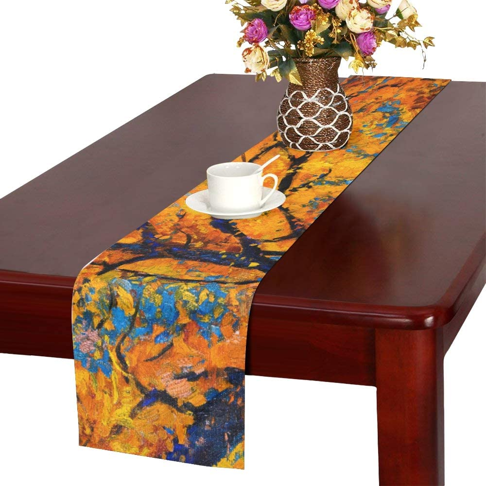 WHIOFE Oil Painting Landscape Colorful Autumn Maple Trees Art Nature Table Runner, Kitchen Dining Table Runner 16 X 72 Inch for Dinner Parties, Events, Decor