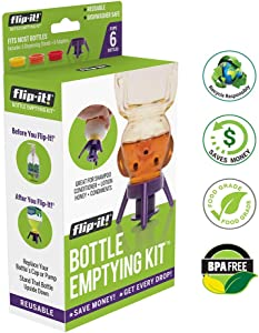 Flip-it! Bottle Emptying Kit - Deluxe - Flip Bottle Upside Down To Get Every Last Drop Out of Honey, Ketchup, Condiments and Beauty Products With Flip-It!   6 pack - BPA Free - Dishwasher Safe