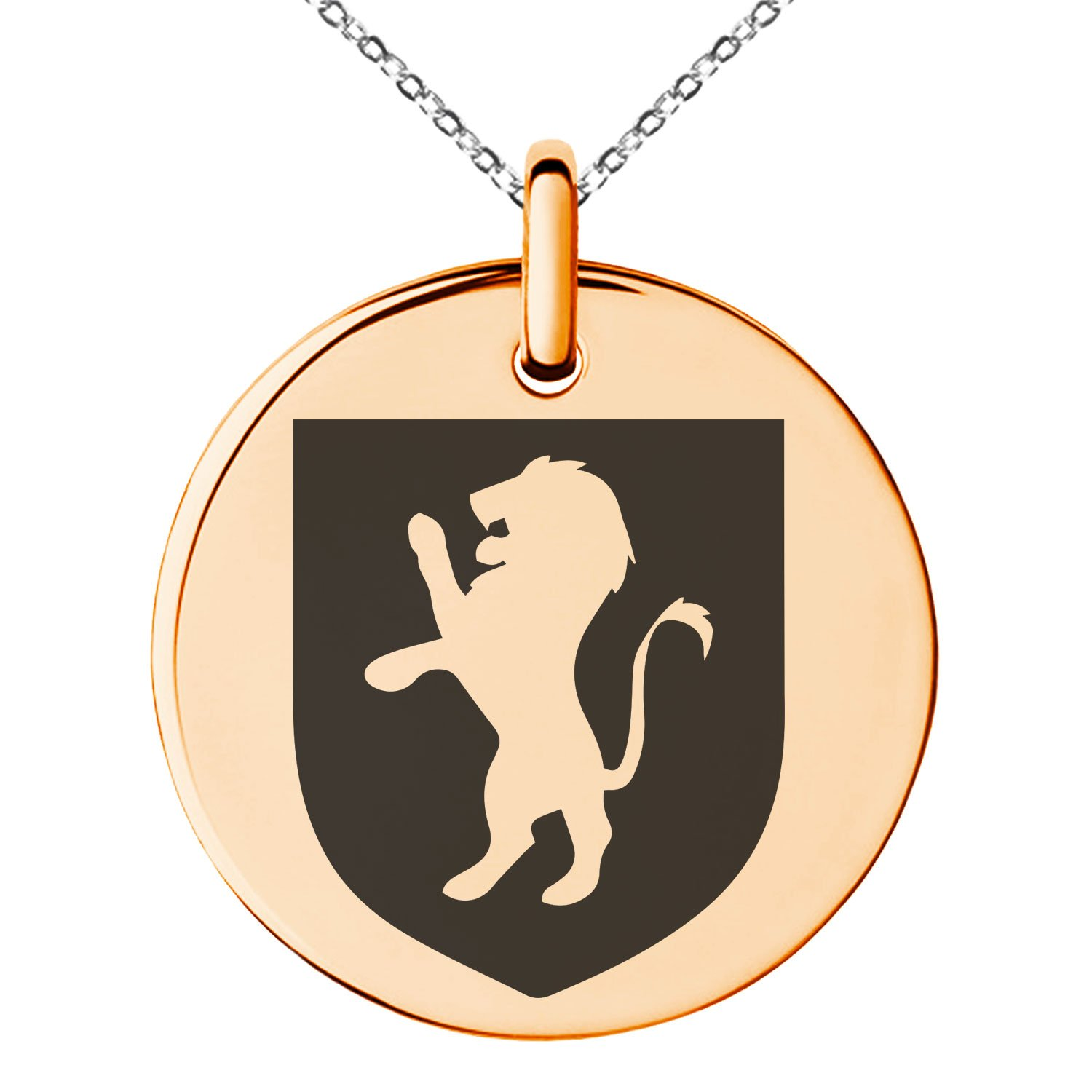 Rose Gold Plated Stainless Steel Lion Courage Coat of Arms Shield Symbol Engraved Small Medallion Circle Charm Pendant Necklace