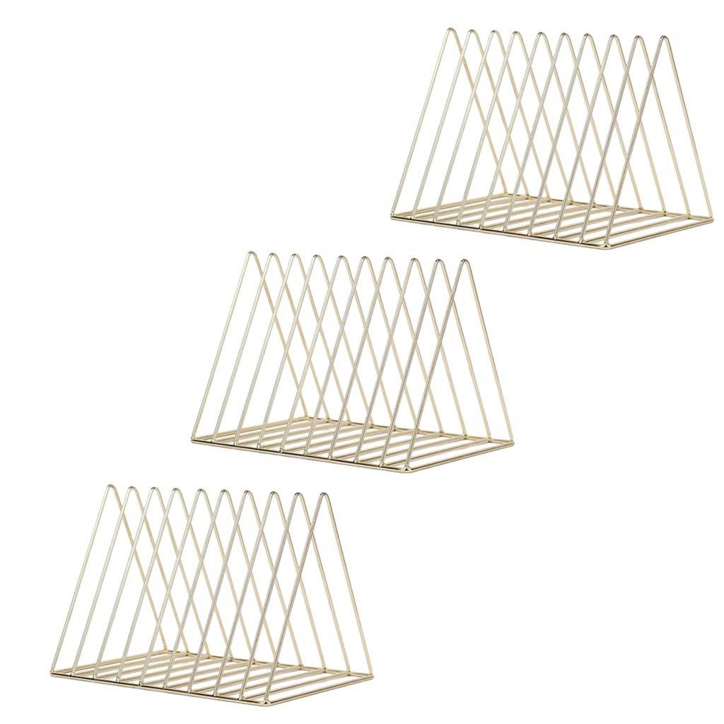 B Blesiya 3pcs Nordic Minimalist Metal Desktop Bookshelf Holder for Home Office Newspaper Magazine Organizing