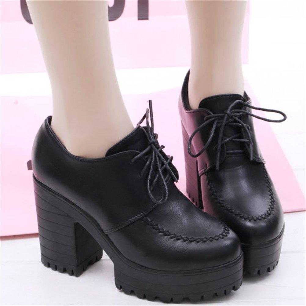 Womens Girls Lolita Low Top Japanese Students Maid Uniform Dress Shoes Oxford Shoes Black