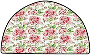 Non-Slip Bath Hotel Mats Floral,Watercolor Rose Flower Petals Leaves Romantic Fragrance Beauty Artwork,Fern Green Light Pink,W47 x L31 Half Round Rugs for Sale