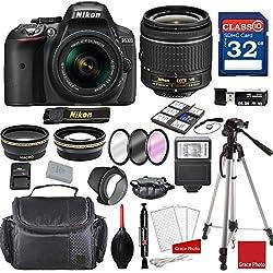 Nikon D5300 Dx-format Digital Slr Waf-p Dx Nikkor 18-55mm F3.5-5.6g Vr Lens + Professional Accessory Bundle