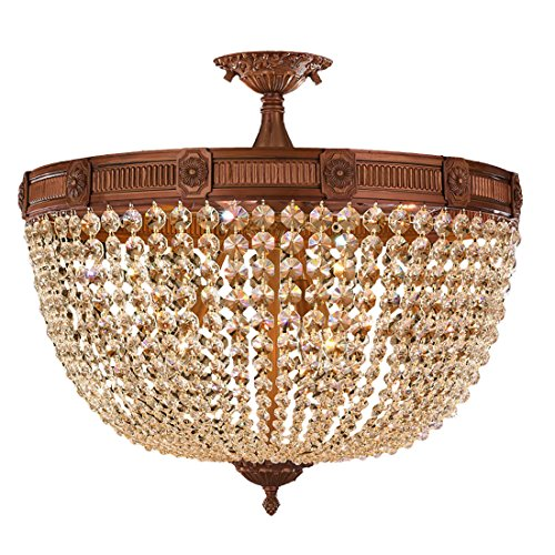 Worldwide Lighting Winchester Collection 9 Light French Gold Finish and Golden Teak Crystal Semi Flush Mount Ceiling Light 24