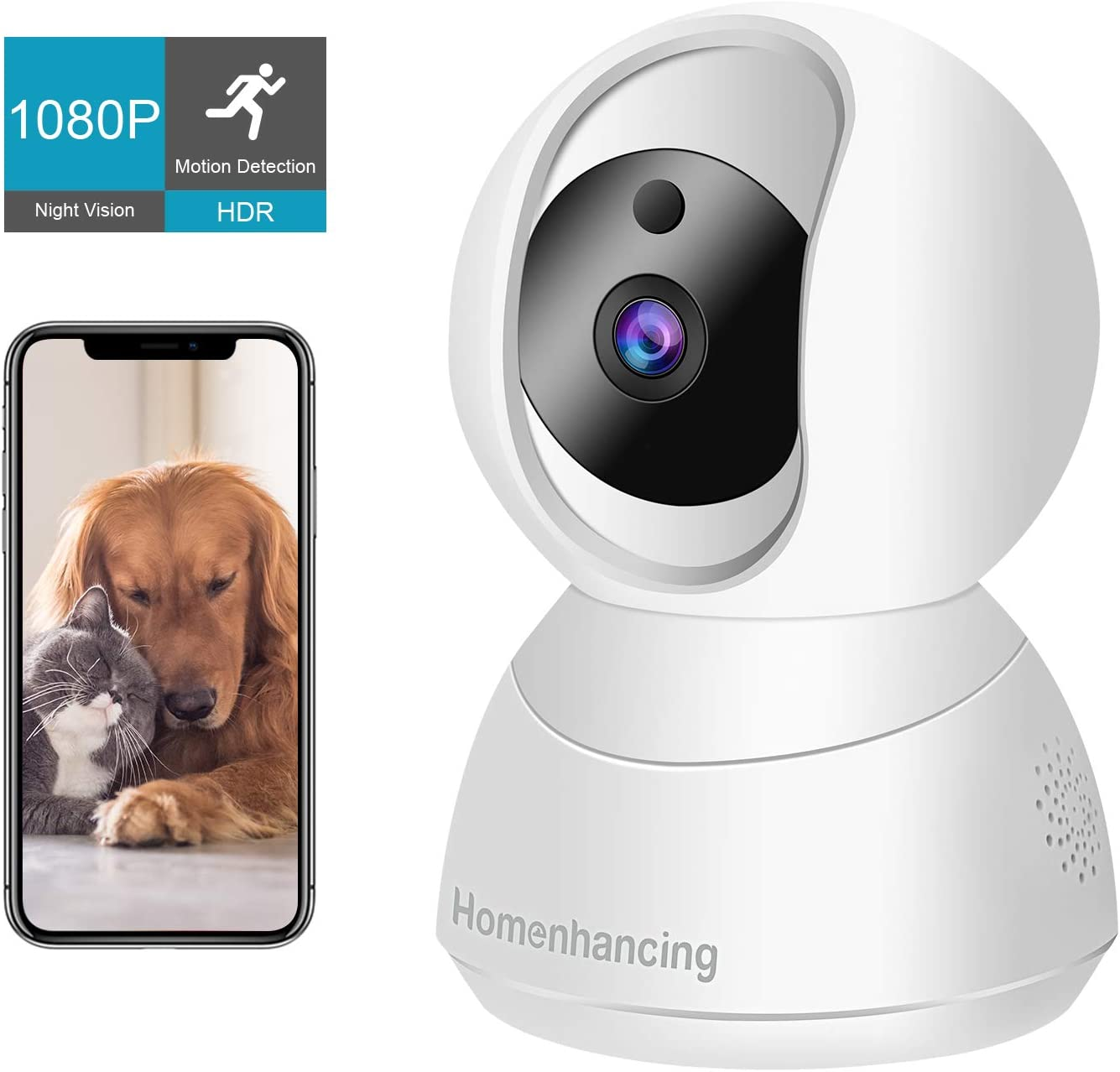 Wireless Pet Camera 1080P FHD, WiFi Dog Camera and Two Way Audio, Indoor Cat Camera and Motion Tracking Detection, Night Vision, IP Camera Pan Tilt Zoom, Cloud Storage Micro SD Card, iOS Android