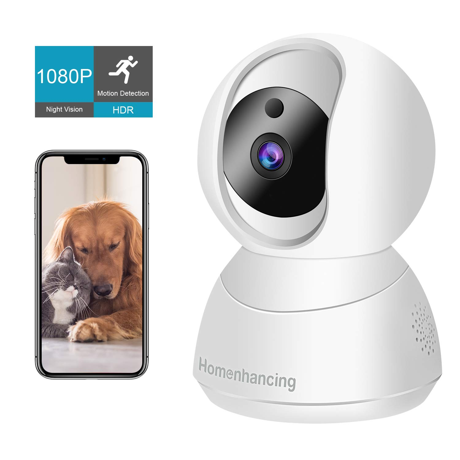 Wireless Pet Camera 1080P FHD, WiFi Dog Camera and Two Way Audio, Indoor Cat Camera and Motion Tracking/Detection, Night Vision, IP Camera Pan/Tilt/Zoom, Cloud Storage/Micro SD Card, iOS/Android by Homenhancing